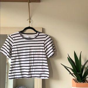 CLUB MONACO black & white striped t-shirt (S) ✨